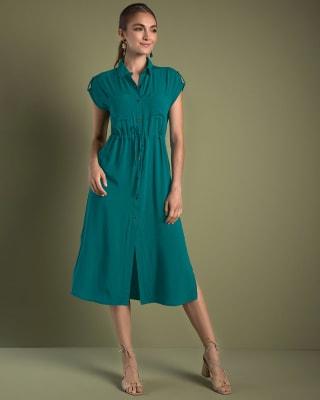 vestido anudable en la cintura-614- Verde Azul-MainImage