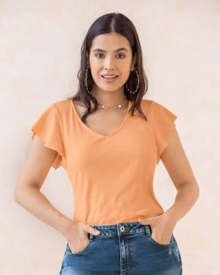 camiseta manga corta de silueta ajustada cuello en v con mangas con boleros-180- Palo Rosa-MainImage