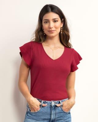 blusa manga corta cuello en v tela acanalada y boleros en hombros-302- Rojo-MainImage