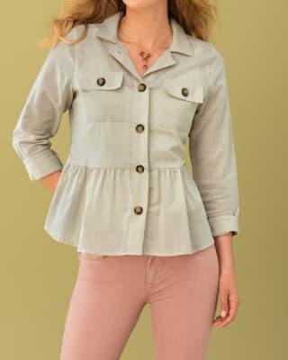 chaqueta con cuello perilla y bolsillos funcionales-849- Beige-MainImage