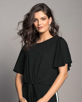 short wide-sleeve top with waist tie-700- Black-MainImage