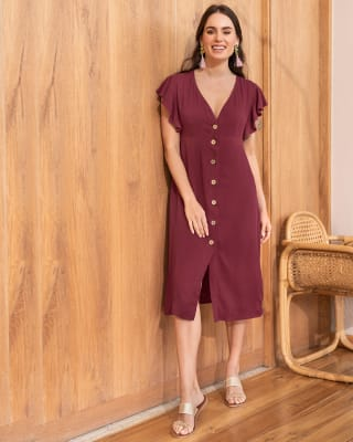 vestido largo midi manga corta con boleros y botones-282- Vino-ImagenPrincipal