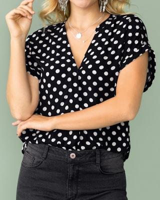 blusa manga corta de silueta semiajustada en chalis-145- Estampado-MainImage