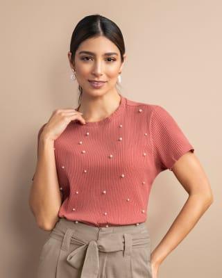camiseta manga corta tela acanalada con perlas decorativas-318- Palo Rosa-MainImage