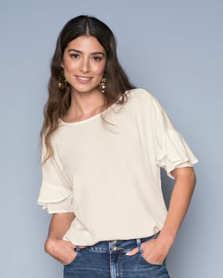 short sleeve top with ruffle sleeves-018- Marfil-MainImage