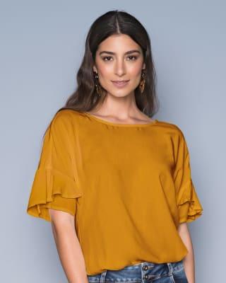 blusa manga corta rodada con bolero-847- Amarillo-MainImage