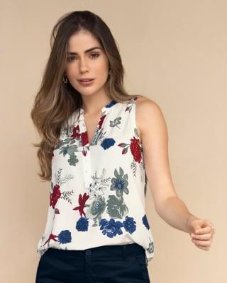 blusa manga sisa abotonable-153- Estampado Flores-MainImage
