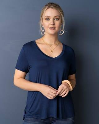 short sleeve slit side tunic - decorative buttons in back-557- Azul-MainImage