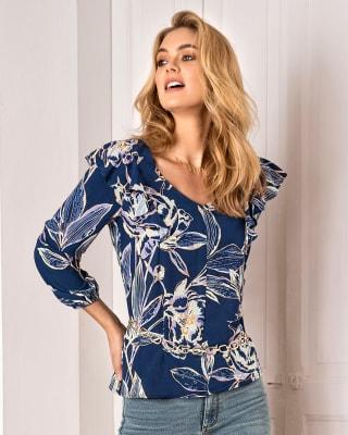 blusa manga 34 con boleros en hombros y elasticos en punos-077- Estampado-MainImage