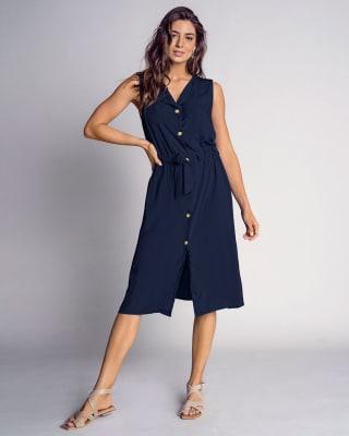 vestido largo abotonable con tira ajustable para anudar en cintura-024- Azul Oscuro-ImagenPrincipal