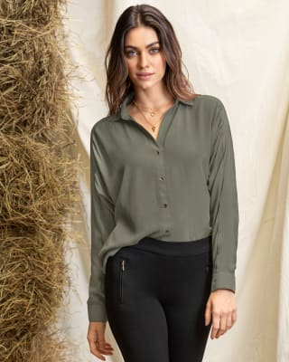 long sleeve blouse with batwing puff sleeves-068- Verde-MainImage