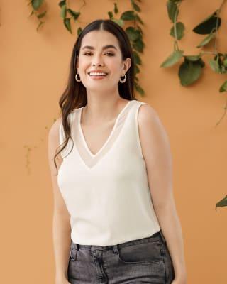 blusa manga sisa con cuello y espalda en v con transparencia-018- Marfil-MainImage