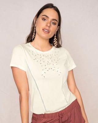 camiseta manga corta en algodon para mujer-018- Ivory-MainImage