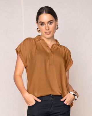 short sleeve half button down top-835- Camel-MainImage