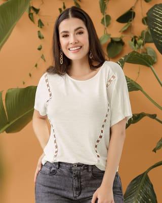 blusa manga corta con costuras decorativas laterales--MainImage