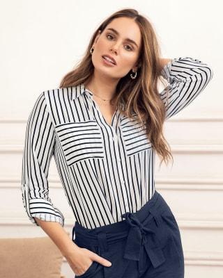 blusa manga larga de rayas con bolsillos tipo parche--MainImage