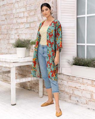 kimono manga 34 de silueta amplia elaborado en tejido plano-145- Estampado-MainImage