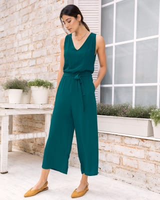 long semi-fitted jumpsuit with elasticated waistband-601- Verde-MainImage