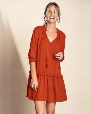 vestido manga 34 cuello en v con elastico en punos-203- Naranja-MainImage