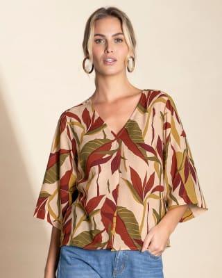 blusa manga 34 ancha y cuello en v--MainImage