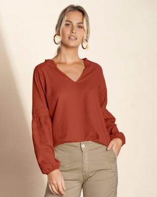 blusa manga larga cuello en v con elastico en punos--MainImage