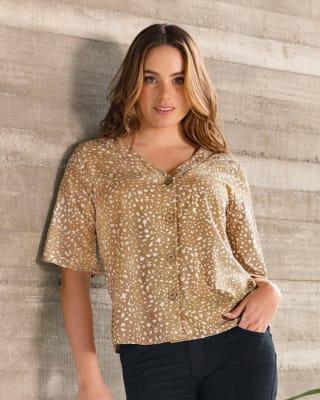 blusa manga corta cuello en v con botones funcionales para mujer--MainImage