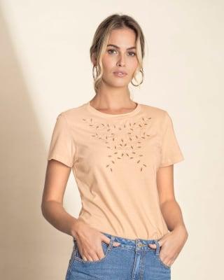 camiseta manga corta para mujer cuello redondo con bordado-180- Palo Rosa-MainImage