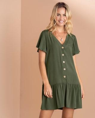 vestido manga corta con botones funcionales y cuello en v-617- Verde Militar-MainImage