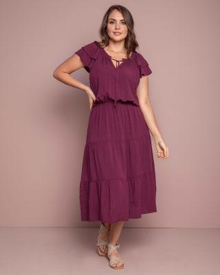vestido largo con elastico en cintura y bolero en mangas-349- Vino-MainImage