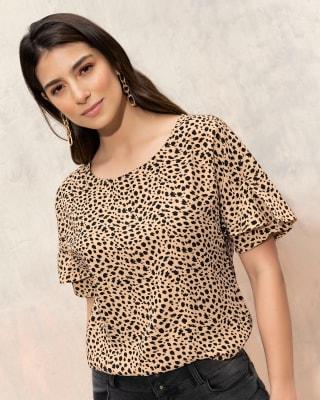 blusa manga corta animal print con boleros en mangas--MainImage