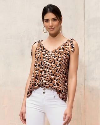 blusa manga sisa con tiras anudables en hombros--MainImage