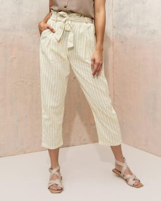 pantalon largo con tira para anudar en cintura y bolsillos funcionales para mujer-145- Rayas Estampadas-MainImage
