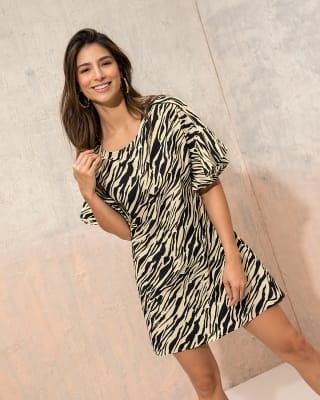vestido corto manga corta con boleros-008- Zebra Estampada-MainImage