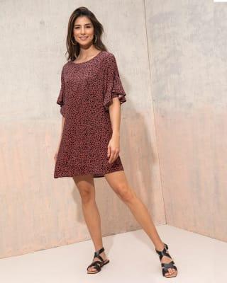 vestido corto manga corta con boleros-087- Estampado Puntos-MainImage