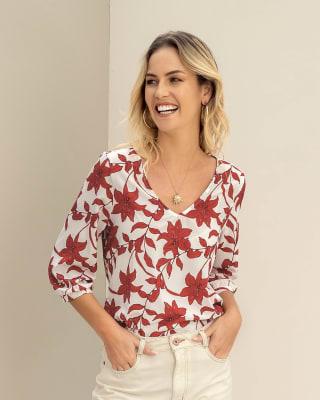 blusa manga 34 estampada elaborada en tela ecologica--MainImage