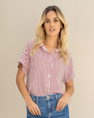 blusa manga corta con rayas y botones funcionales--MainImage