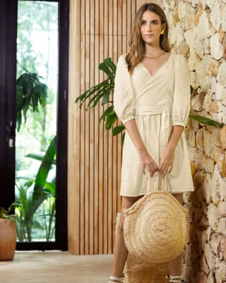 vestido corto cuello en v con mangas globo-018- Marfil-MainImage