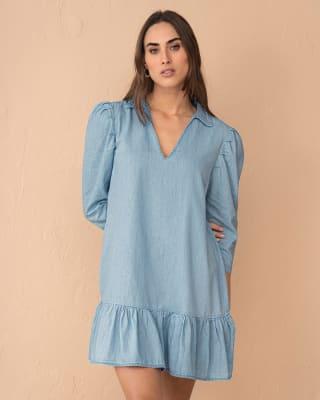 vestido corto con mangas con volumen y bolero en el ruedo-141- Indigo-MainImage