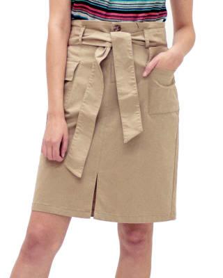 falda corta tejido plano - fuera de serie-835- Cafe-MainImage