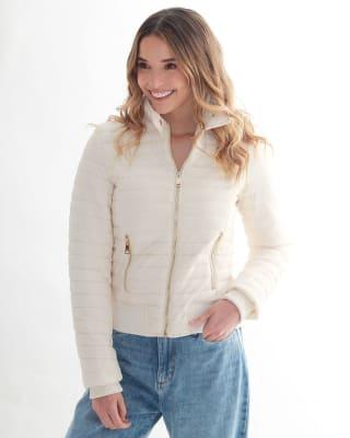 chaqueta manga larga con cierre funcional fuera de serie para mujer-018- Marfil-MainImage