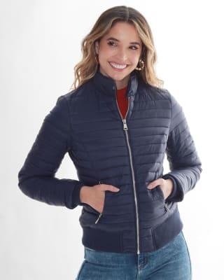 chaqueta manga larga con cierre funcional fuera de serie para mujer-547- Azul-MainImage