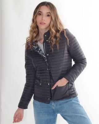 chaqueta manga larga con botones funcionales fuera de serie para mujer-547- Azul-MainImage