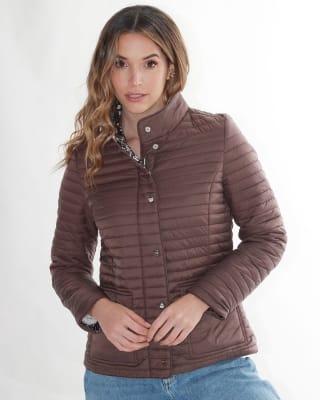 chaqueta manga larga con botones funcionales fuera de serie para mujer-835- Cafe-MainImage