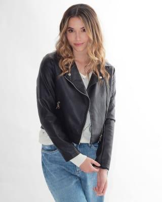 chaqueta manga larga con broche en el cuello fuera de serie para mujer-700- Negro-MainImage