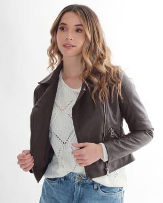 chaqueta manga larga con broche en el cuello fuera de serie para mujer-835- Cafe-MainImage