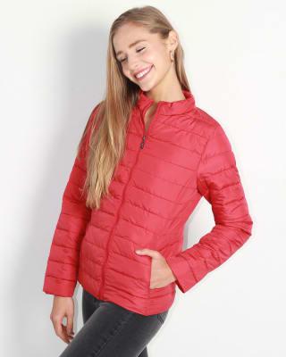chaqueta manga larga con cierre y bolsillos funcionales fuera de serie para mujer-302- Rojo-MainImage