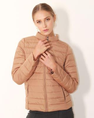 chaqueta manga larga con cierre y bolsillos funcionales fuera de serie para mujer-835- Cafe-MainImage
