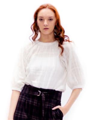 blusa manga 34 tejido plano - fuera de serie-000- Blanco-MainImage