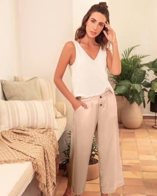 pantalon corto de pijama con bolsillos funcionales-849- Beige-MainImage