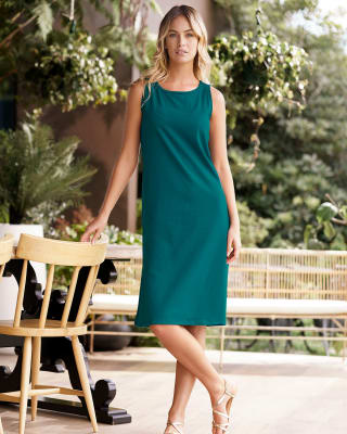 vestido manga sisa silueta semiajustada multiproposito como pijama o exterior-171- Verde Laguna-MainImage